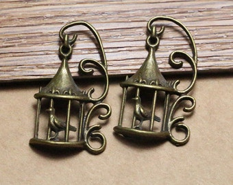 20pcs antique bronze birdcage pendant charms,metal charms,jewelry making supplies, 21×35mm