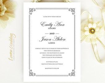 Formal wedding invitations printed on white shimmer paper | Black and white wedding invitations cheap