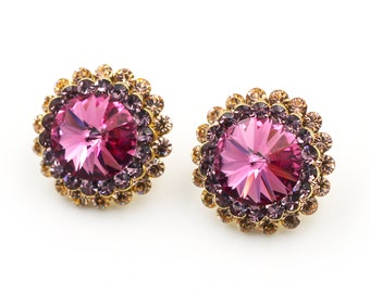 Fashion big pink crysta earrings
