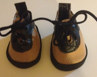 American boy doll shoes Tan Faux leather and black doll shoes 18 inch doll shoes