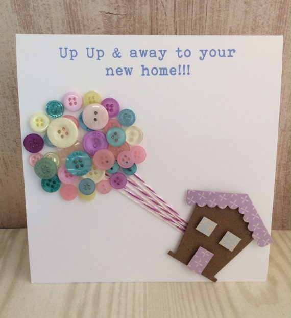 Handmade Button Balloon New Home Card