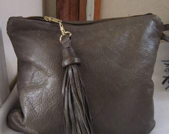 Light Olive Green Pebbled Leather Clutch w/Tassel