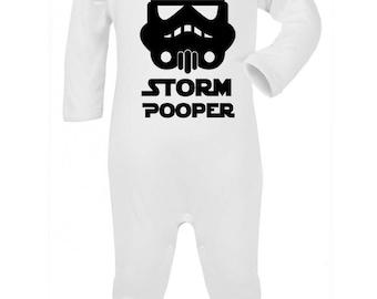 "Baby Romper ""Storm Pooper""  Star Wars, Storm Trooper Parody Baby suit / Bodysuit / Sleep Suit"