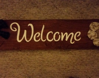 primitive Welcome sign, welcome sign, large wood sign, primitive decor, home decor, shelf sitter, country sign, rustic sign, country decor