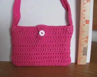 hand crocheted bright pink purse with lining