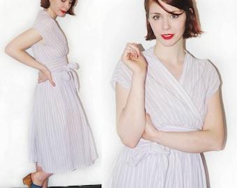 vintage 80s lavender cotton slub wrap dress