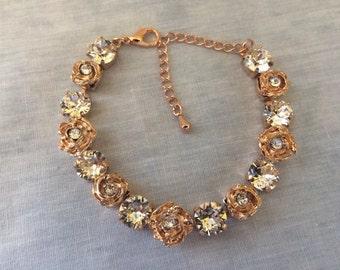 Swarovski Rose Gold Flower Bridal Tennis Bracelet, 8mm bracelet, crystal wedding bracelet, bridesmaid bracelet, rose gold bracelet, wedding