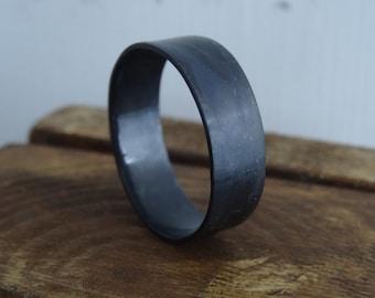 FREE SHIPPING - black minimalist men's ring - Simple minimal oxidized silver men's band ring - Oxidized black minimal men's band ring