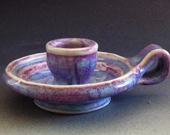 Ceramic Pottery Candle Holder Glazed Porcelain Wheel Thrown Rare Art Pottery Handmade in USA