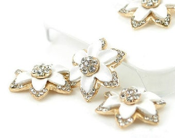 1pcs Bling White Alloy Flower Dazzle Crystals Gems Flatback Cabochon Decoden Accessories/New DIY Cell Phone Case Deco Den Materials Supplies