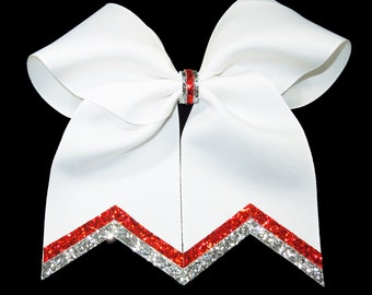 White Cheer Bow, Silver Red and White Cheer Bow, Cheer Bow with Bling, Sparkly Cheer Bow, Silver and White Cheer Bow