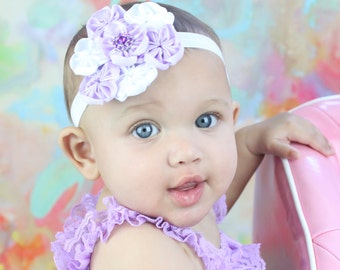 Purple Baby Headband, Infant Headband, Purple and White Baby Headband, Baby Girl Headband, Stretch Headband, Satin Flower Headband or Clip