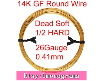 "14K Gold  Filled Round Wire 26 Gauge .016"" 0.41mm Dead Soft / Half Hard Wholesale BULK DIY Jewelry Findings 1/20 14kt GF"