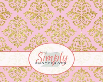 PINK with GOLD GLITTER Damask vinyl Photography Backdrop