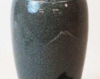 """Japanese celadon vase 12"""" tall, 5"""" diameter, not marked. 2.8 lb"""