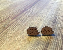 Super Cute Tiny Timber Hedgehog Studs - Earrings. Animal Earrings - Studs. Handmade Earrings - Studs. Handmade in Canberra Australia.