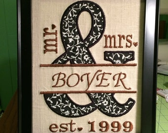 Mr. & Mrs. Wall art, personalized wedding gift, anniversary gift.