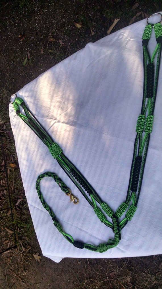 """Horse Tack:""""Green Machine"""" Paracord Breast Collar Standard Horse Size made #550 paracord, adjustable tug straps, trigger snap,D'Ring"""