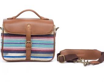 Camera Bag for DSLR, Leather Camera Bag, Leather and Kilim Camera bag for Canon , Nikon