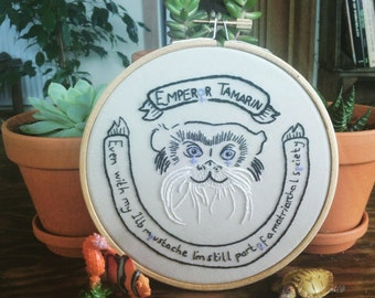 Emperor Tamarin, Hand Embroidered, Monkey, Cute Monkey, Moustache, 5 Inch Bamboo Hoop, 10% to Charity, Conservation Art, Eco Friendly Art,