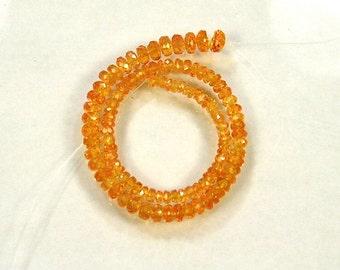 """Mandarin spessartite garnet faceted rondelle beads AAA 2.5-5.5mm 8"""" strand"""