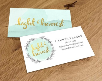 Custom Double Sided Watercolor Business Card
