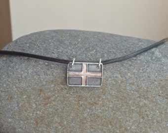 Kernow Flag, St Pirans Cross, Cornwall Flag necklace, cornish jewellery for men, leather necklace
