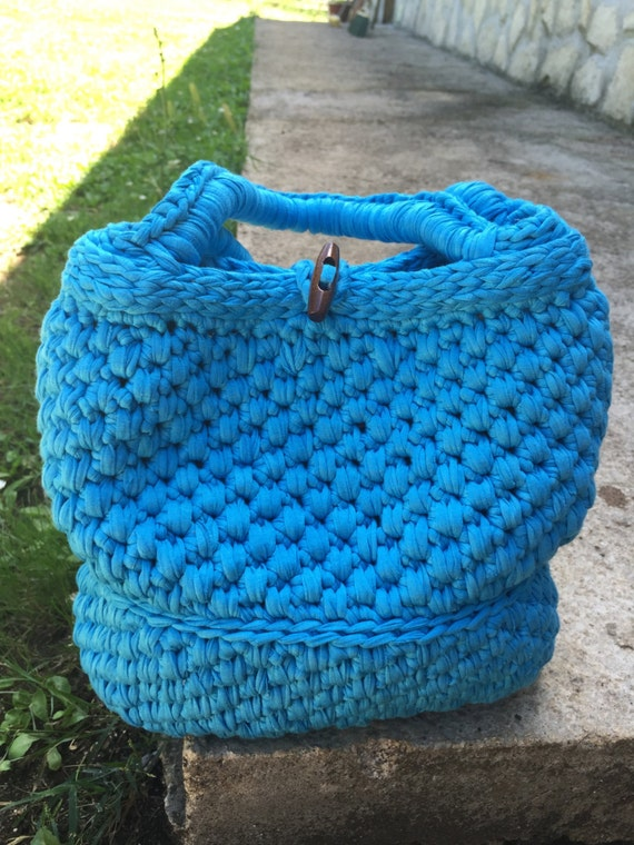 Crochet Cotton Bag : Bag Turquoise crochet in cotton- lined DeLICIOUS made in Italy
