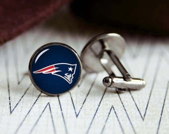 Patriots football sports team cufflinks. Gift idea for men, Fathers day, Christmas, prom, wedding cuff links.
