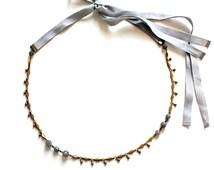 Headband in labradorite (gemstone), brass & ribbons Pemberley jewelry / headband / necklace / Bohemian Headband / Head jewelry chain