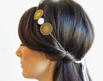 "Headband wedding white lace & white jade ""Water lily"" Pemberley jewelry / headband / necklace / Bohemian Headband / handmade"