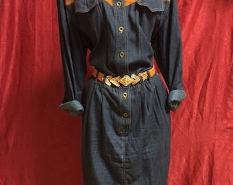 Vintage Denim Cotton Western dress/80's/Size Large