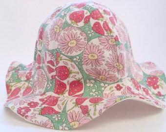 Strawberry baby sun hat, baby summer hat, toddler sun hat