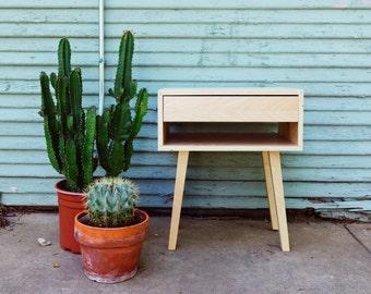Modern Leggy Side Table w/ Drawer