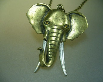 Vintage Brass Elephant Head Necklace Pendant