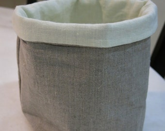 Large -100% Pure Linen Fabric Basket, Eco Friendly Storage, Basket Container