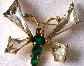 Vintage Mazer Rhinestone Butterfly Brooch Pin Retro Mazer/Jomaz Signed Jewelry