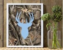 Boys nursery decor, baby blue deer wall decor, camo nursery, camouflage print, camo decor, buck deer nursery, deer theme, hunting, camo art