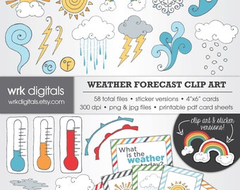 Weather Forecast Clip Art Digital Pack, Digital Scrapbooking, Instant Download