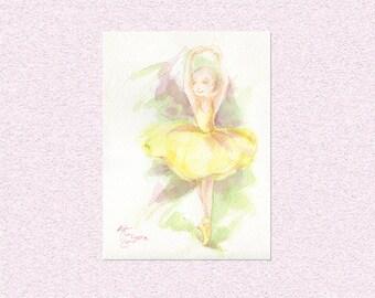 Watercolor painting Ballerina in yellow tutu dress, Original ballet girl room decor, unique girl art, whimsical watercolour dancer