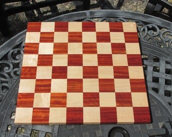 Chess board made of African padauk and maple woods. Great gift ideas for  birthdays and other occasions. 16 inch chess board. exotic wood.