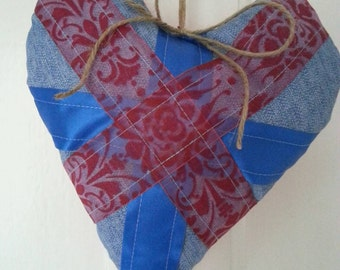 Union Jack shabby chic padded hanging heart