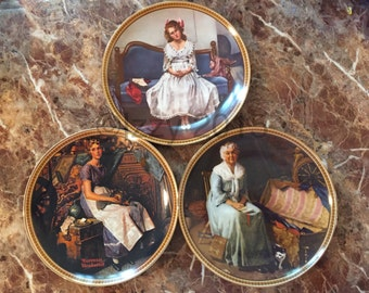 5 Norman Rockwell's Collectible Plates ~ Rediscovered Women Collection
