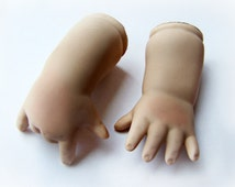 """Modern Replacement Hands Porcelain Dolls Chubby Baby Hand with Forearm 3"""" tall High Quality 1980s Like New Stock Doll Parts Repair Repurpose"""