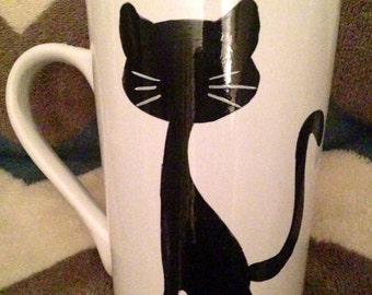 Silhouette cat mug
