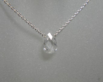 Cubic Zirconia and Sterling Silver Minimalist Necklace - 17""