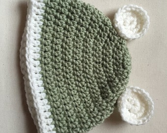 Green baby hat, Baby hat with ears, Beanie with ears