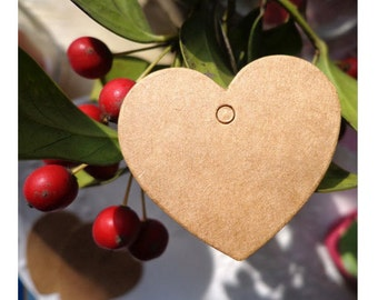 Lovely Small KRAFT HEART Gift Tag Hang Tag, 25pcs, Wedding Favours & Crafts