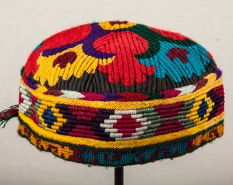 20.8''  Vintage AFGHAN HAT with mirrors , Ships free with UPS