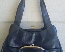 Cute Vintage Six pocket Double Snap Black Purse Shoulder Bag